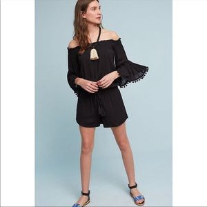 Anthropologie Lilka ruffle pompom black romper